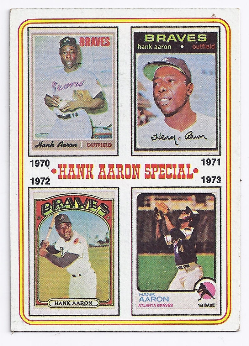 Vintage 1974 Topps Baseball Card 6 Hank Aaron Special With Photos Of 1971 72 72 74 Nice