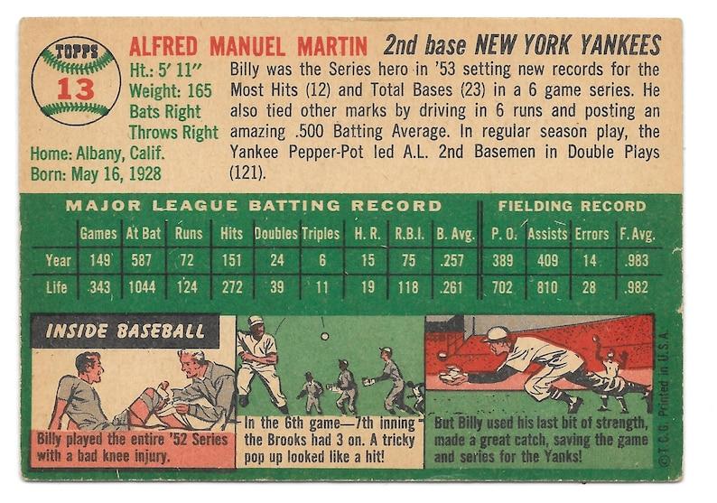 Bonus Autographs 1954 Topps NY Yankee Second Baseman Billy Martin Vintage Baseball Card LQQK Best Offers Free Shipping!
