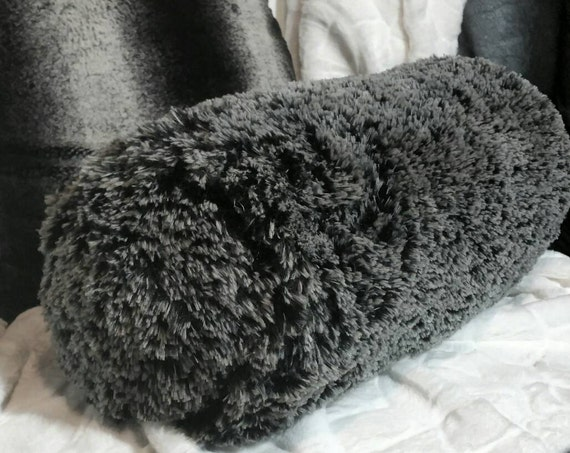 Faux Alpaca Bolster Pillow in Black and Ivory  - Free Shipping within the US
