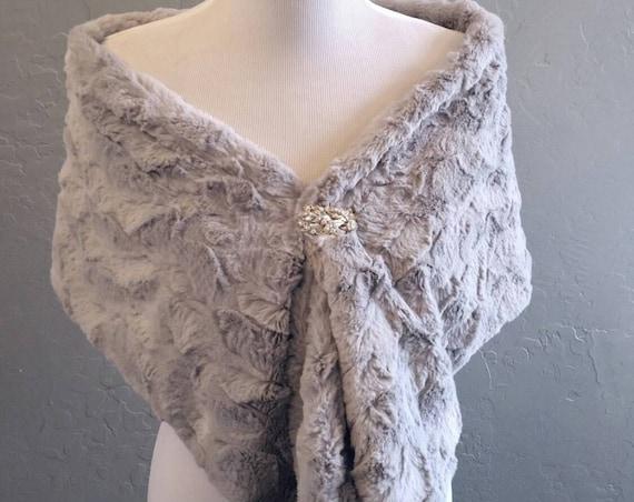 Silver Grey Faux Rabbit Fur Infinity Scarf or Faux Fur Wrap for Wedding, Bride, Bridesmaid, Formal, Date Night, Winter Scarf, vegan fur