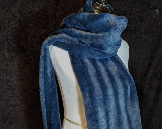 Navy Blue Faux Fur Scarf Christmas Gift Teacher Gift Stocking Stuffer Free Shipping