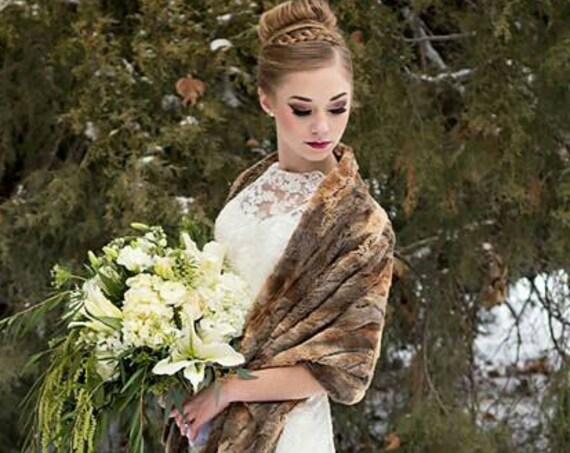Super Soft Brown Faux Fox Fur Wrap, Fur Stole, Fur Shawl, Wedding, Bride, Bridesmaid, Mother of the Bride, Rustic Wedding, Winter, Vegan Fur