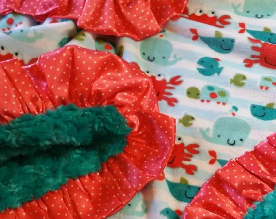 Nautical Beach Theme Minky Baby Blanket Crab Whale Turtle in Coral Aqua Teal with Polka Dot Satin Trim and Embroidered Name Personalization