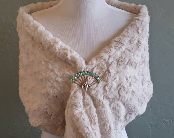 Champagne Antique White Faux Rabbit Fur Wrap, Infinity,  Shawl for Wedding, Bride, Bridesmaid, Formal, Mother of the Bride, Quinceanera