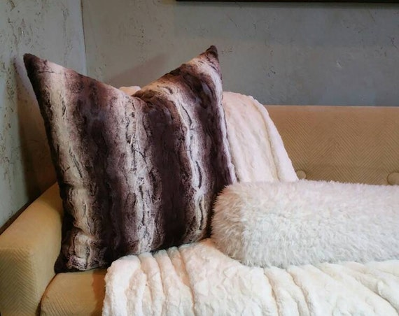 Chocolate Brown and Soft White Faux Fur Pillow Covers - All Sizes Available Including Body Pillow, Standard, King and Euro Shams