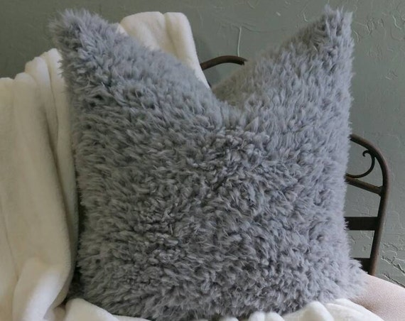 Gray Faux Llama Pillow Covers in All Sizes Including Euro Shams, King Shams and Body Pillows, Vegan Fur