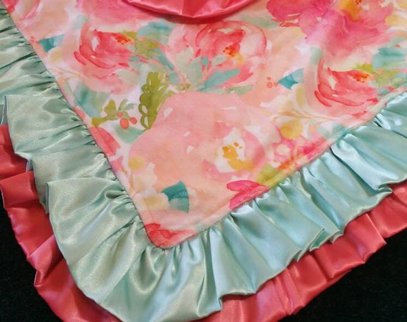 Floral Minky Blanket with Single or Double Satin Ruffle and Free Embroidery Coral and Aqua