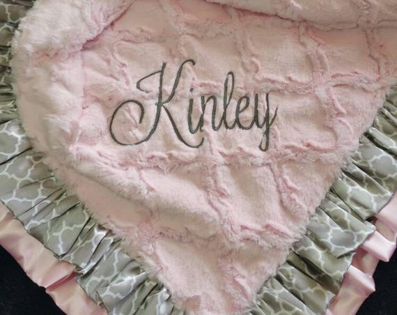 Double Satin Ruffle Embroidered or Monogrammed Pink and Grey Minky Blanket for Baby or Toddler Girls Traditional or Contemporary Nursery