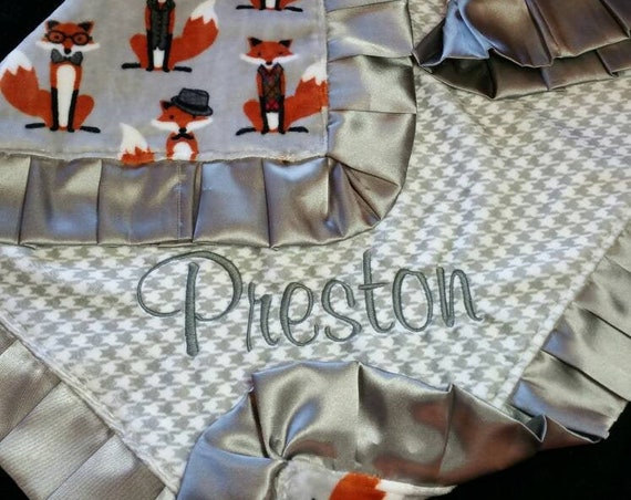 Grey Fox and the Hounds tooth Double Minky Baby Blanket with Pleated Satin Trim and Embroidered Name