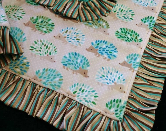Woodland Hedgehog Minky Blanket with Satin Ruffle or Pleated Trim with Embroidery Tan, Cream, Aqua, Brown, Turquoise Gender Neutral