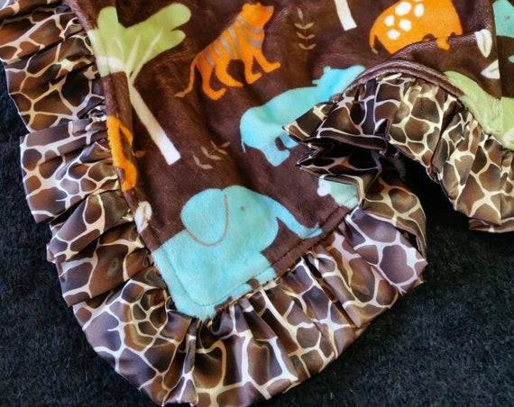 Jungle Safari Minky Blanket with Satin Ruffle and Custom Embroidery Pillow Nap Set Brown Turquoise Orange Green Giraffe Elephant Tiger Tree