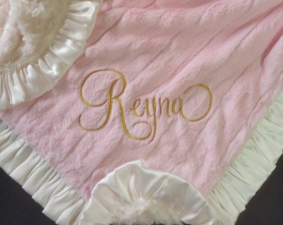 Pink and Ivory Minky Baby Blanket with Satin Ruffle and Optional Embroidery Baby Girl Nursery Toddler