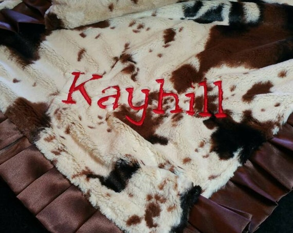 Baby or Large Rustic Western Style Cow or Pony Print Minky Blanket with Embroidery and Matching Pillow