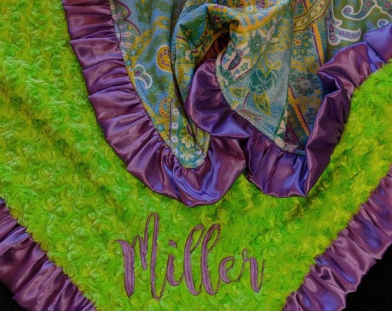 Purple, Teal and Green Paisley Minky Blanket with Satin Ruffle for Western, Rustic, Cowgirl style Nursery Optional Embroidery