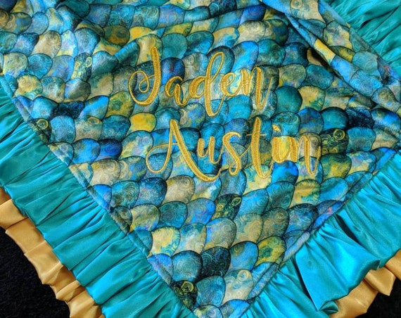 Mermaid Minky Personalized Blanket, Pillow, Gift Set, Nap Set Doll Blanket in Teal and Gold Satin Ruffles