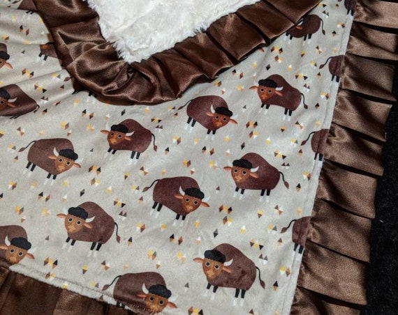 Rustic Buffalo Double Minky Blanket with Embroidered Name and Satin Trim Bison Brown, Tan, Cream, Lovie Minky Blanket, Nap Set Pillow