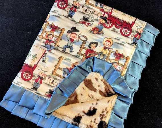 Vintage Western Cowboy and Pony Print Minky Baby Blanket with Satin Trim and Embroidered Name Southwest Style, Blue, Brown, Tan, Red, Cactus