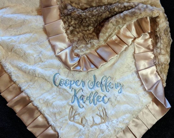 Deer Fawn Hide Faux Fur Minky Blanket in Beige and Cream, Ivory Embroidered Personalization With Satin Trim and Matching Pillow or Lovie