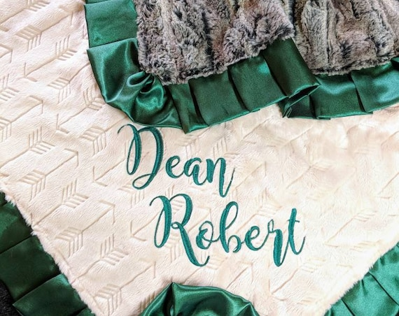 Arrow Minky and Beige and Brown Faux Wolf Fur  Minky Baby or Toddler Blanket with Hunter Green Satin Trim and Embroidered Name or Monogram