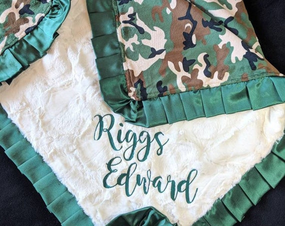 Camo Double Minky Baby Toddler Blanket with Optional Satin Trim and Embroidered Name -  Army, Military, Hunter, Green, Brown, Black