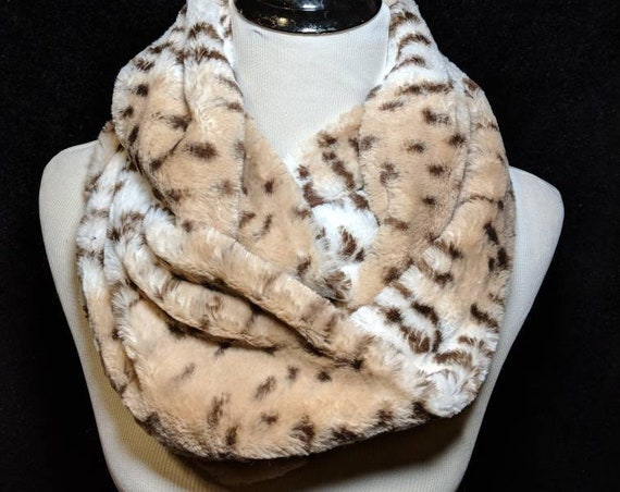 Super Soft Faux Fur Infinity Scarf, Leopard Print, Animal Print, Beige, Brown, Cream, Furry Scarf, Christmas Gift, Winter