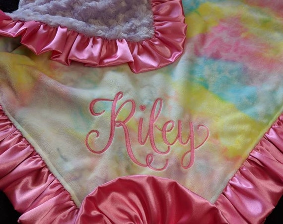 Tie Dye Minky Blanket in Pastel Colors with Embroidery and Satin Ruffle Trim Pink, Purple, Lavender, Aqua, Yellow, Ivory Hippie Baby Boho
