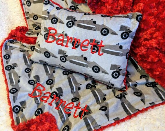 Gray Race Car Minky Blanket and Pillow Set with Personalization for Toddler or Preschool Nap Set Travel Blanket and Pillow