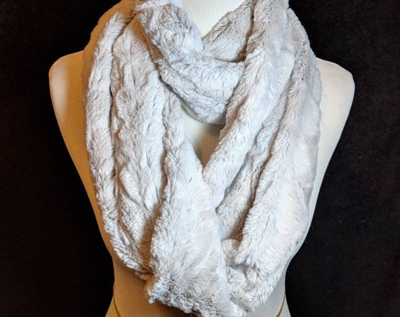 Light Silvery Gray Faux Chinchilla Infinity Scarf, Wrap for Wedding, Bridesmaid Gift, Winter Scarf, Stocking Gift