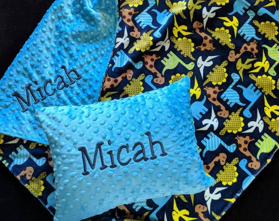 Dinosaur Minky Toddler Blanket and Pillow Set
