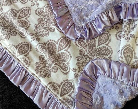 Fleur de Lis Minky Blanket with Lavender Rosebud Minky and Satin Ruffle Trim