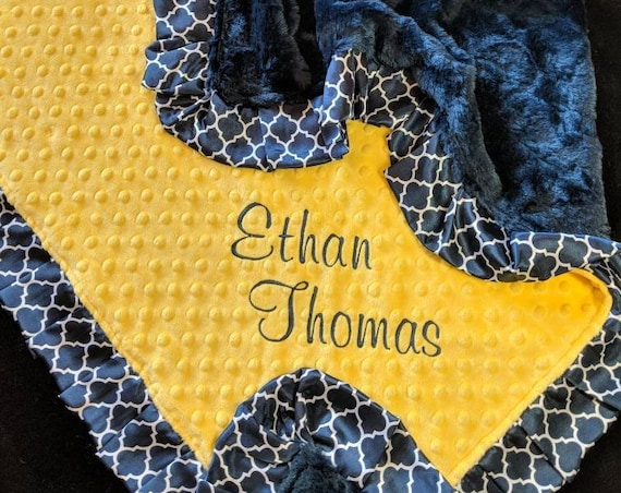 Navy Blue and White Minky Baby Blanket - Customize Your Colors - With Pleated Satin Trim and Embroidered Name