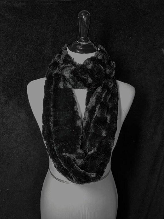 Black Faux Fur Infinity Scarf, Furry Scarf, Black Faux Mink, Christmas Gift, Secret Santa, Stocking Stuffer, Teacher Gift, Free Shipping