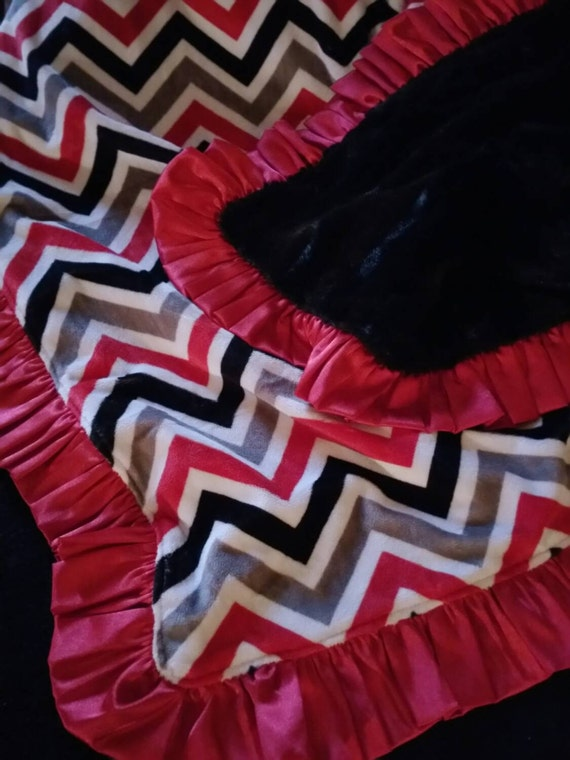 READY TO SHIP - Adult Size Minky Blanket with Black Faux Mink and Red Satin Ruffle Chevron Minky in Black, Gray, Red and White Ohio State