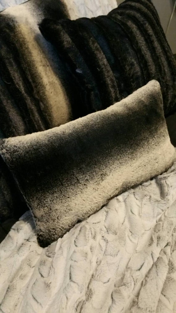 Black Frosted Chinchilla Faux Fur Pillow Covers - You choose the size! Vegan Fur