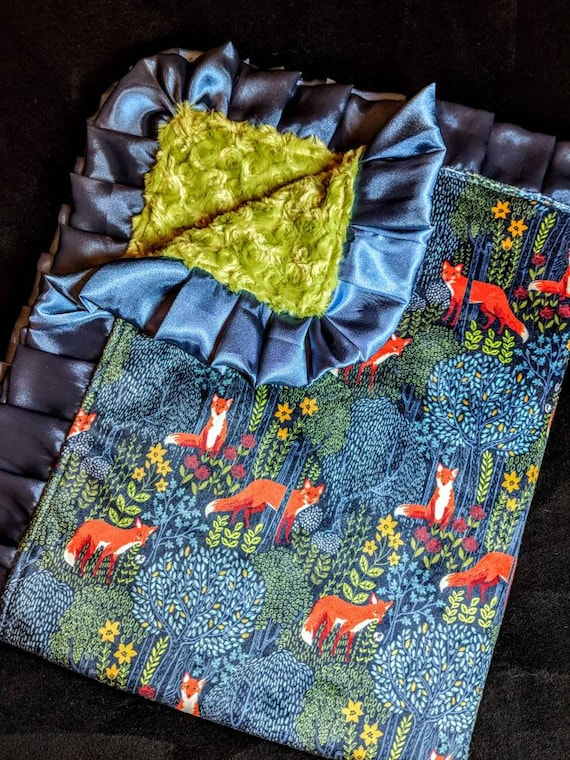 Fox Print Minky Baby Blanket in Blue and Green with Satin Trim and Optional Embroidered Name or Monogram Woodland, Rustic, Forrest