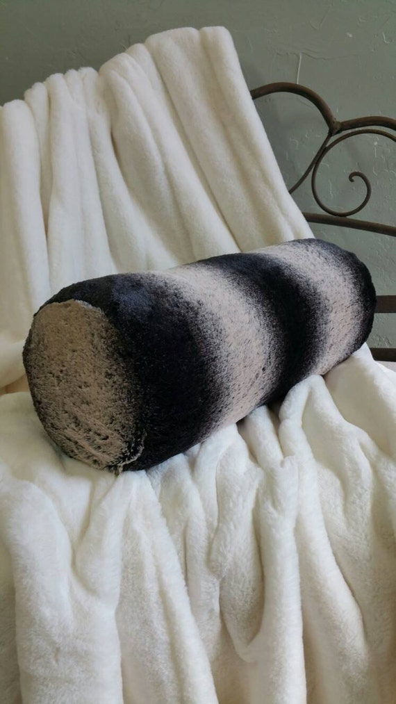 Black Frosted Chinchilla Faux Fur Bolster Neck Roll Pillow - With or Without Insert Free US Shipping