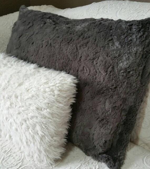 Dark, Charcoal Grey Faux Fur Pillow Shams - King Size, Queen Size, Standard Size, Euro Sham or Body Pillow
