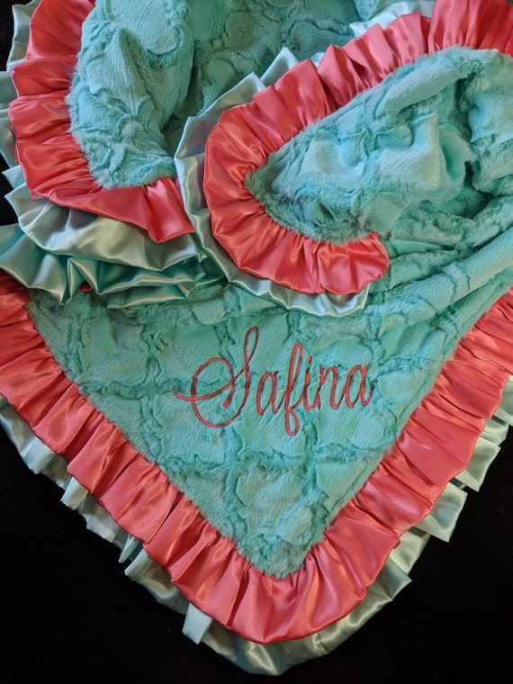 Coral and Mint Green Aqua Minky Blanket with Double Satin Ruffle and Embroidery