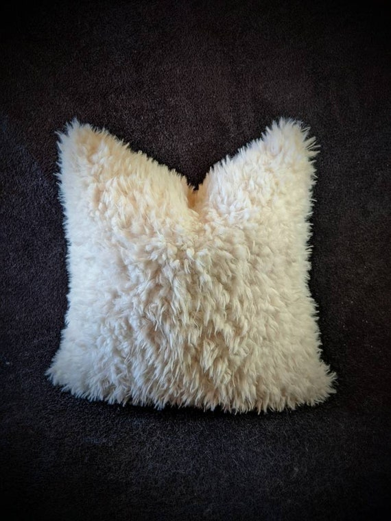 Ivory or Pink Faux Llama or Yak Fur Pillow Covers - Custom Made - You pick the size