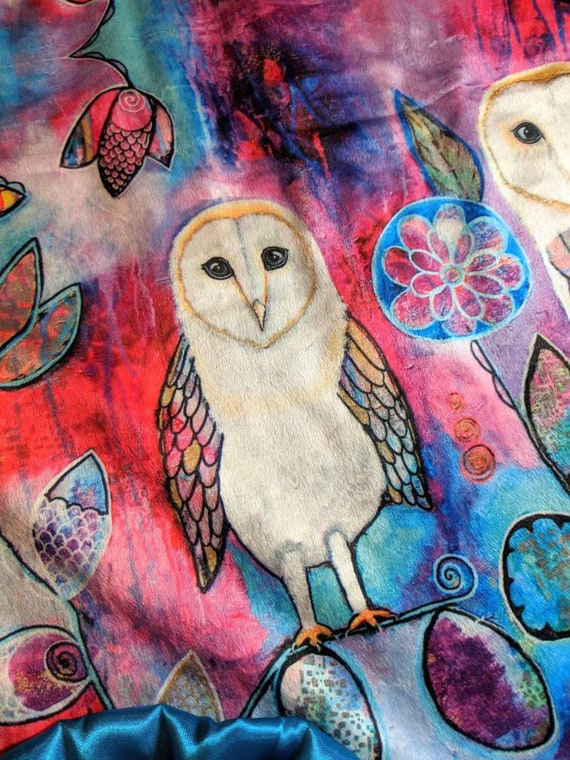 Adult Size Snowy Owl Minky and Ivory Faux Mink Throw Blanket with Turquoise Satin Ruffle Embroidered Personalization Turquoise Purple White
