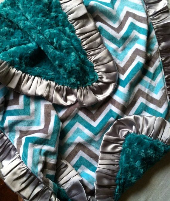 Teal, Aqua and Gray Chevron Double Minky Blanket