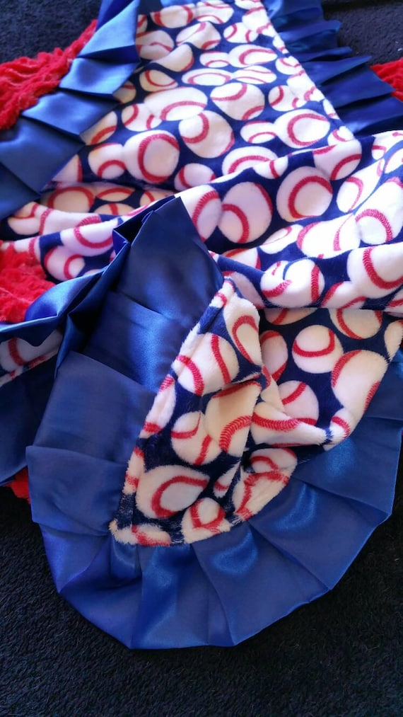 Red, White and Blue Baseball Minky Blanket with Embroidered Personalization for Chicago Cubs, Texas Rangers, Atlanta Braves, Dodgers
