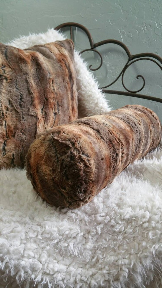 Faux Fox Fur Bolster Neck Pillow in Beautiful Brown and Caramel Tones - With or Without Insert and Free US Shipping