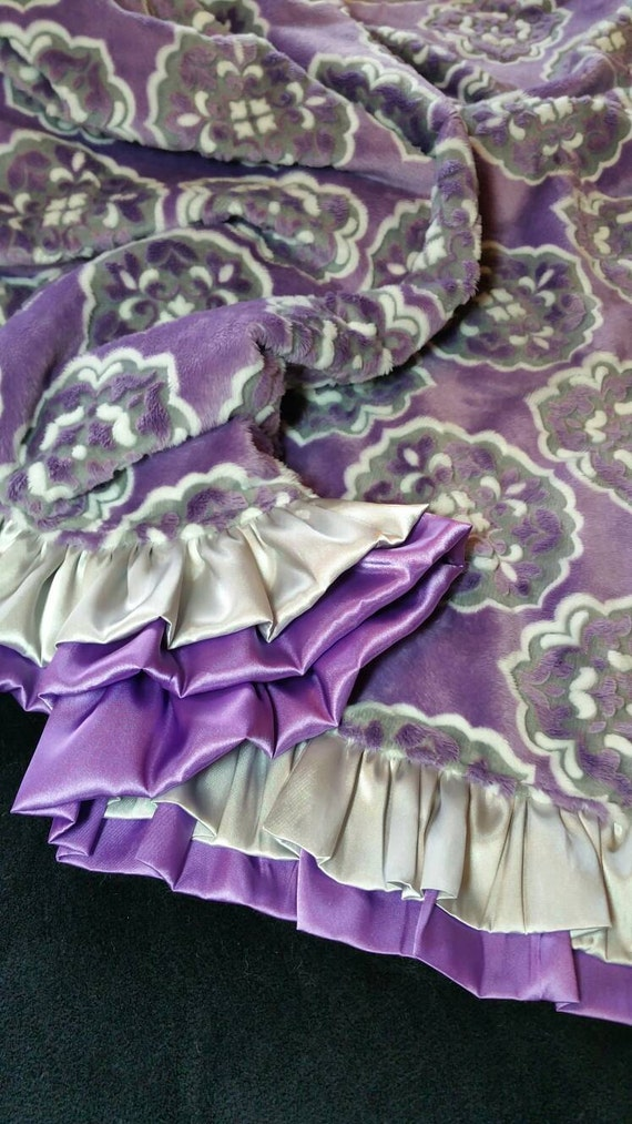 Purple and Silver Minky Blanket with Single or Double Satin Ruffle and Embroidery