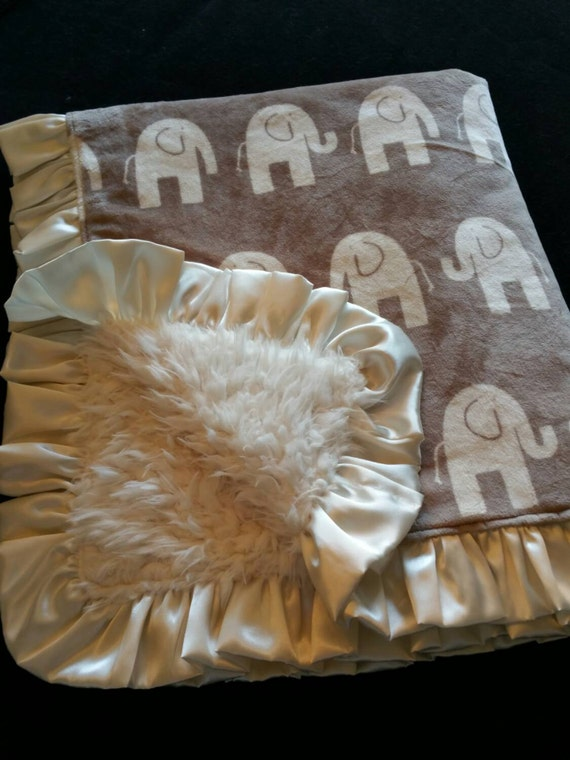 Soft, Washable, Ivory Llama and Elephant Print Minky Baby Blanket With Satin Ruffle and Embroidered Name or Monogram