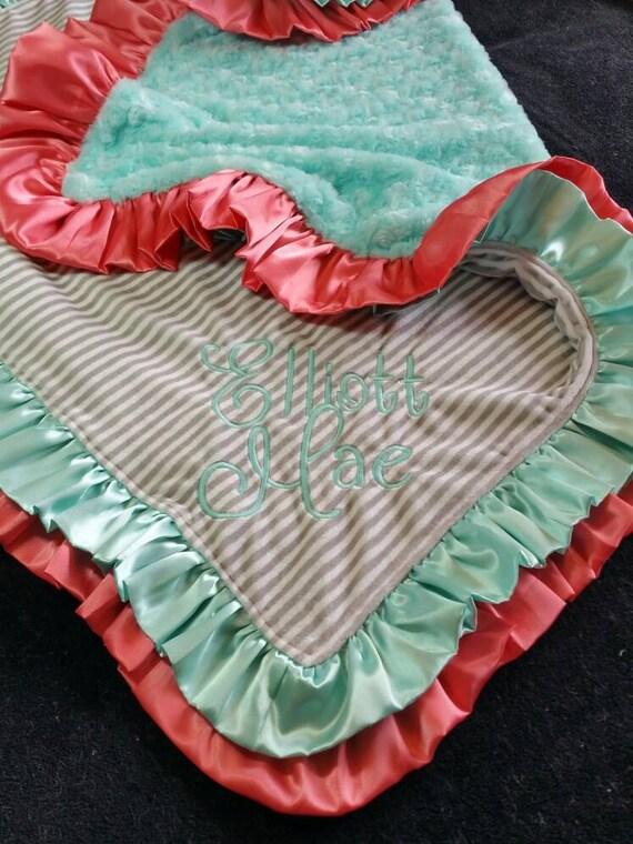 Personalized Grey and White Stripe Minky Blanket with Coral and Aqua Satin Ruffle and Aqua Rosebud Minky