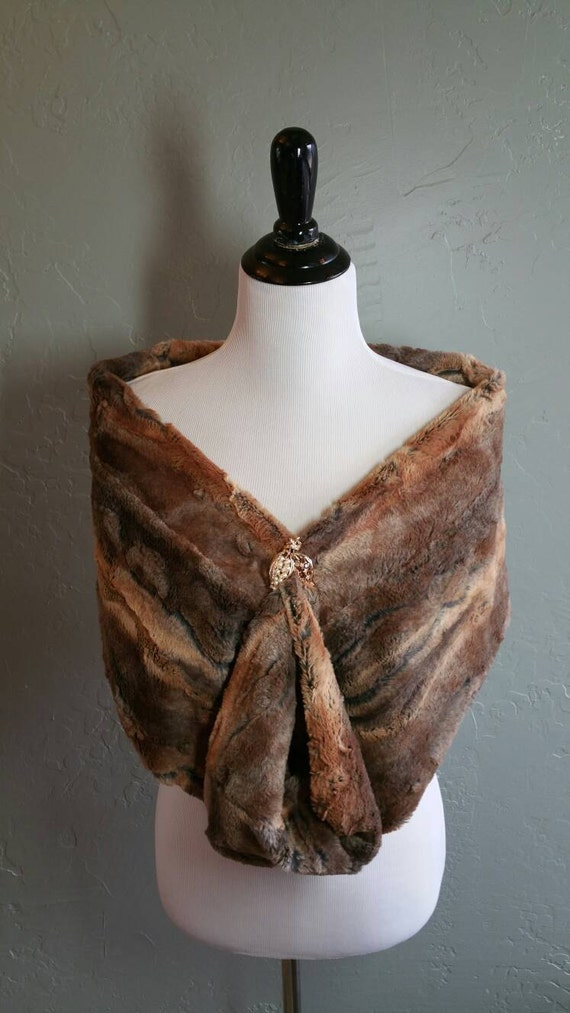 Faux Fox Fur Infinity Wrap Scarf in Brown and Camel Tones for Gift, Wedding, Bridesmaids, Bride, Mother of the Bride, Bridesmaids Gift