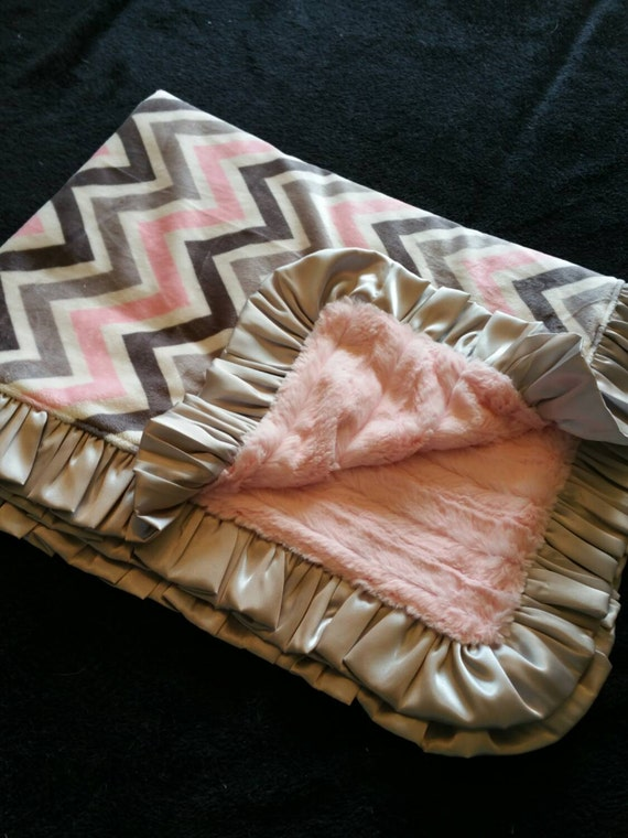 Pink and Gray Chevron Minky with Pink Faux Mink and Gray Satin Ruffle