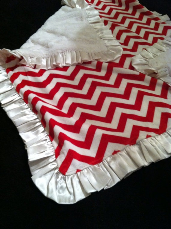 READY TO SHIP - University of Oklahoma, University of Alabama, Red and White Chevron Minky, Christmas Baby, Satin Trim, Chevron Minky