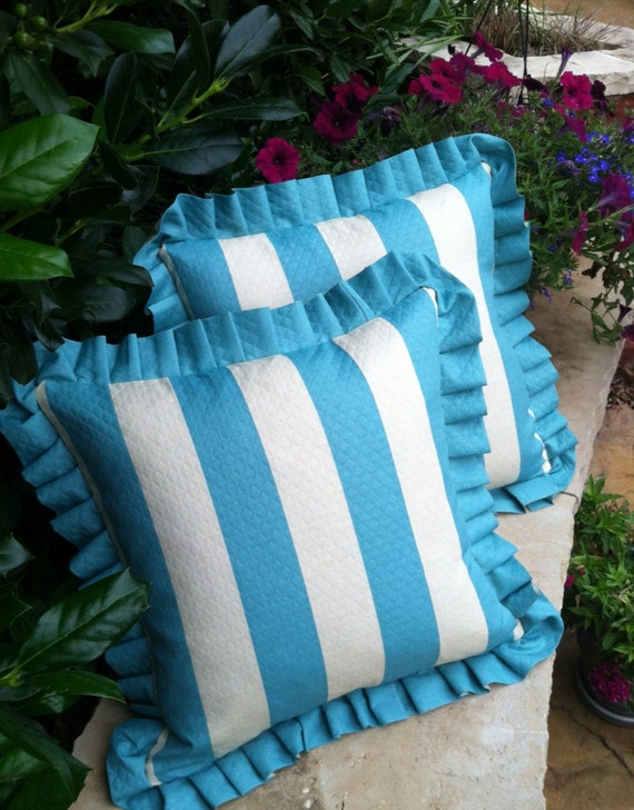 ON SALE - Two Outdoor Pillow Covers in Turquoise and Ivory Stripe